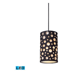 Elk Lighting - Enchantment LED 1-Light Pendant in Matte Black - Give your space an edgy ambiance with this Unique Pendant Collection.� Echoing natural patterns, these die stamped hardback fabric shades feature random river stone shaped or organic rosette patterns that are offset by matte black drum shades. Hardware in matte black finish. - LED offering up to 800 lumens (60 watt equivalent) with full range dimming. Includes an easily replaceable LED bulb (120V).