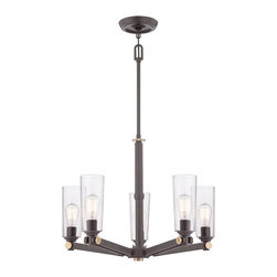 Quoizel - Quoizel UPEV5005WT Uptown East Village Chandelier - A vintage, casual, young yet retro look for the new illuminati.  It features clear glass shades that enhance the Western Bronze finish and gold accents.