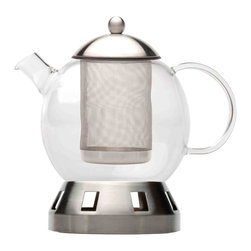 Berghoff - Berghoff Dorado 4pc Tea Pot 5.5 Cups - Set includes: glass teapot, stainless steel lid, strainer and stand. 18/10 stainless steel for the stand, stainer and lid.  The teapot is made of glass and is heat-resistant up to 356 F.
