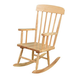 "KidKraft - Kidkraft Home Indoor Outdoor Kids Spindle Wooden Rocking Chair Natural - Our Spindle Rocking Chair is inspired by painter Norman Rockwell's classic artwork and was designed to capture the timelessness of that era. Kids will love rocking back and forth in this child-sized chair. Dimension: 22.75""Lx 16.25""Wx 29""H, Seat 12.25""H"