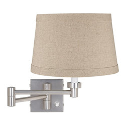 """Lamps Plus - Contemporary Natural Linen Drum Brushed Steel Plug-In Swing Arm Wall Lamp - This versatile swing arm wall lamp has a full-range dimmer on the base for easy light control. It comes in a contemporary brushed steel finish with a natural linen shade. To install simply mount the lamp then plug the included cord into any standard wall outlet. Brushed steel finish. Natural linen shade. Full-range dimmer. Plug-in style. Maximum 100 watt or equivalent bulb (not included). Shade is 10"""" across the top 12"""" across the bottom 8"""" high. Backplate is 5"""" wide 5"""" high. Arm extends 20"""" from the wall.  Brushed steel finish.  Natural linen shade.  Full-range dimmer.  Plug-in style.  Maximum 100 watt or equivalent bulb (not included).  Shade is 10"""" across the top 12"""" across the bottom 8"""" high.  Backplate is 5"""" wide 5"""" high.  Arm extends 20"""" from the wall."""