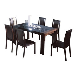 Beverly Hills Furniture - Reflex Dining Table & Chairs Set - Includes dining table, 6 dining chairs and buffet. Oak veneer in wenge finish. Thick framed, block legs for dramatic effect. Black glass top and side edge. *Matches C1 Cabinet. Table: 34 in. W x 60 in. L x 30 in. H. Chair: 22 in. W x 17 in. L x 36 in. H. Buffet: 18 in. W x 58 in. L x 40 in. HThe Reflex Dining set is crafted from carefully selected solids and oak veneers, and finished in wenge color.  The thick framed legs provide reassuring support to the black glass top and side.  The look, feel and finish on this table is impeccable. The dining chairs are factory built with finger joints and feature wooden-paneled backs. Buffet is factory build with sliding wood-framed black glass doors covering ample storage space.  A worthy compliment to any modern dining area.