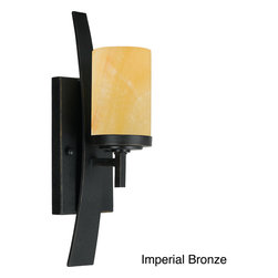 Quoizel - Quoizel 'Kyle' 1-light 16-inch Light Fixture - This Quoizel 'Kyle' Wall Fixture features a rustic contemporary look that gives a dramatic flair to your home. This design features gorgeous butterscotch onyx shades that emits a romantic glow.