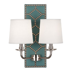 Robbert Abbey - WILLIAMSBURG Dunmore Lightfoot Teal Leather Double Sconce - Deep Patina Bronze - Available in Polished Nickel or Deep Patina Bronze Finish.  Backplate Upholstered in Mayo Teal Leather with Nailhead Detail.  Aged Brass Accents.  2-60W Max.  Bulb Type: B. Candelabra Base.  Direct Wire Only.  Oyster Linen Shades.  Back Plate: 5 3/4� w x 16 1/2� d x 1 1/2� h  Shade: 5� w x 6� d x 6� h