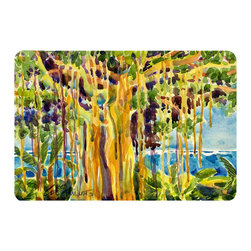 Caroline's Treasures - Tree - Banyan Tree Kitchen Or Bath Mat 24X36 - Kitchen or Bath COMFORT FLOOR MAT This mat is 24 inch by 36 inch.  Comfort Mat / Carpet / Rug that is Made and Printed in the USA. A foam cushion is attached to the bottom of the mat for comfort when standing. The mat has been permenantly dyed for moderate traffic. Durable and fade resistant. The back of the mat is rubber backed to keep the mat from slipping on a smooth floor. Use pressure and water from garden hose or power washer to clean the mat.  Vacuuming only with the hard wood floor setting, as to not pull up the knap of the felt.   Avoid soap or cleaner that produces suds when cleaning.  It will be difficult to get the suds out of the mat.