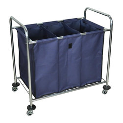 Luxor Furniture - Luxor Laundry Cart - Inside of the navy bag is divided into three compartments. Chrome plated steel frame. Load capacity: 7 bushels, 51 gallons, 100 lbs.. Support bars under bag. 2½ in.  casters, two with brake and 4 caster bumpers. Outer dimensions: 38½ in. W x 24¾ in. D x 36½ in. H. Inner dimensions: 30½ in. W x 19½ in. D x 23 in. H. Assembly required. Bag is constructed of heavy duty canvas and removes easily with velcro fasteners
