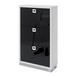 Sarmog - Shoe Rack with 3 Folding Double-Depth Doors With Glossy White Base and Glossy Bl - Need a shoe rack? This one is a floor standing modern & contemporary shoe rack that will fit perfectly into your contemporary master bathroom.