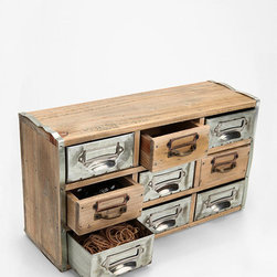 Reclaimed Card Catalog Organizer Cabinet - This is the perfect mix of industrial and vintage wrapped in one cute little wooden package. Icing on the cake? It's perfect for stashing messes.