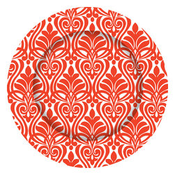 Poppy Red Damask Charger Plates - Set of 12 - Dine in style with our graphically bold charger plates.  Easily update your table with this striking pattern and fresh color.  Our exclusive collection offers a chic and modern interpretation of a classic accessory.