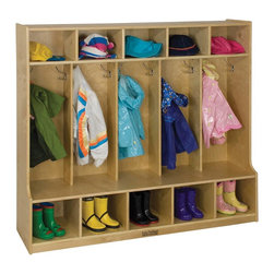 Ecr4kids - Ecr4Kids Home Indoor Kids Room 5-Section Coat Locker With Bench (Birch) - 5-Section Coat Locker with Bench