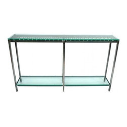 Custom Glass and Wrought Iron Console Table - A unique custom-made console table. Finely cut green-tinted glass provides sturdy shelves, beautifully complementing a repurposed gate with its wrought-iron grillwork beneath.