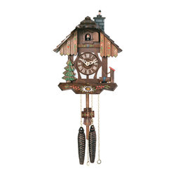 RIVER CITY CLOCKS - Chalet Style One Day Cuckoo Clock with Chimney Sweeper that Pops In and Out of t - This one day chalet style German cuckoo clock features wooden hands, a wood dial with Roman numerals, and a warm light yellow hand-painted and hand-carved cuckoo bird. The cuckoo clock case features a chimney sweeper sitting at on top of the chimney with a hand-carved tree and water pump at the base of the clock. On the top of every hour the chimney sweeper rises up and down in and out of the chimney while the cuckoo bird cuckoos. There are also hand-painted flowers on the pendulum and on the base of the clock case. Two cast iron pine cone weights are suspended beneath the clock case by two separate brass chains.         The hand-carved and hand-painted pendulum continously swings back and forth which controls the timing of the clock. If your cuckoo clock's timing should ever need adjustment, you can control the speed of your clock by sliding the shield up or down the pendulum stick. Sliding the shield down causes the cuckoo clock to run slightly slower, while sliding the shield up makes the cuckoo clock run slightly faster.         On every hour the cuckoo bird emerges from a swinging door above the clock dial and counts the hour by cuckooing once per hour. (Example: At one o'clock the bird will cuckoo once. At eight o'clock the bird will cuckoo eight times) The half hour is announced with one cuckoo call. The 30 hour all brass mechanical Regula movement, which is produced in the Black Forest of Germany, is wound once per day by raising the two pine cone weights. One weight powers the time and the other weight powers the cuckoo and cuckoo call.         *Great effort has been made to portray each cuckoo clock as accurately as possible. As with many handmade items, the exact coloration and carving may vary slightly from clock to clock. We consider this to be a special part of their character.   This clock is covered by a two year limited warranty covering workmanship and manufacturers defects. .