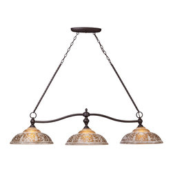 ELK - ELK 66195-3 Billiard/Island - The Amber Restoration Glass Of Norwich Collection Features A Timeless Motif That Is Warm And Inviting.  The Turned Center Column And Ironwork Is Complemented By An Oiled Bronze Finish