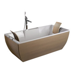 Modo Bath - Kali'-Art Oak Free Standing Bathtub - Kali'-Art Oak by WS Bath Collections Free Standing Bathtub in Acrylic White,with Headrests in Wood and Stainless Steel Support
