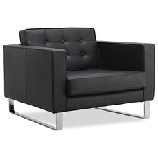 Modern Armchairs Chelsea Black Leather Easy Chair (Sliders)