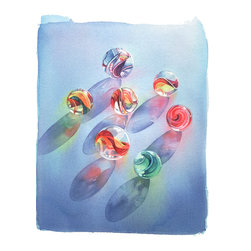 Summer Watercolor Art - Limited edition archival pigment print. Signed and numbered, printed on watercolor paper paper.