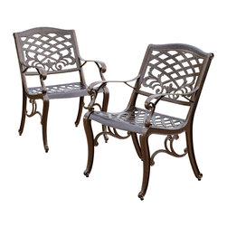 Great Deal Furniture - Covington Outdoor Cast Aluminum Dining Chair (Set of 2) - The Covington dining chairs will bring luxury and convenience to your outdoor space. Made from cast aluminum, these durable, high quality chairs feature a mesh back and seat rest. The antique bronze finish is neutral to match any outdoor furniture and will hold up in any weather condition. Whether in your backyard, patio, or deck, you'll enjoy these chairs for years to come.