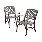 Great Deal Furniture - Covington Outdoor Cast Aluminum Dining Chair (Set of 2) - The Covington dining chairs will bring luxury and convenience to your outdoor space. Made from cast aluminum, these durable, high quality chairs feature a mesh back and seat rest. The antique bronze finish is neutral to match any outdoor furniture and will hold up in any weather condition. Whether in your backyard, patio, deck or even your restaurant outdoor dining space, you'll enjoy these chairs for years to come.