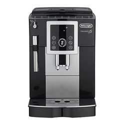 DeLonghi® Fully Automatic Espresso Machine - Refined Italian styling, abundant features and intuitive touch controls come in a sleek, compact package for espresso lovers. Adjust the strength and volume settings to your preference, or choose push-button default settings for automatic grinding and brewing. Integrated burr grinder is adjustable, as is the brew spout to accommodate a variety of cups. Bypass doser allows use of pre-ground coffee; turbo-style steam wand froths milk faster. Also includes a cup warming tray, large removable water tank, and removable brewing unit for cleaning. Makes two cups simultaneously.