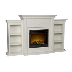 "Holly & Martin - Holly & Martin Electric Fireplace w/ Bookcases-Ivory X-81-9-320-401-73 - If you are looking for an elegant accessory for your home, this is the piece for you. This beautiful and functional electric fireplace features an ivory finish that looks great in any room. A classic floral design is carved across the top of this fireplace. A bookcase on either side of the fireplace provides space and storage for all of your favorite readings, media, and home d&#233:cor accessories. The firebox has realistic, multicolor flames and glowing embers with an interior brick design for a more lifelike look. This electric fireplace features energy efficient LED and requires no professional installation, making it a cost effective way to upgrade your living or media room. Easy to use remote control offers 4-way adjustability to warm the room conveniently. Safety features include automatic shutoff and glass that remains cool to the touch. Turn off the heat to enjoy the fireplace ambience year round! - FEATURES: - Accommodates a flat panel TV up to 68.25"" W overall (base up to 40"" W overall) - Features 6 fixed shelves - Ivory finish - PRODUCT SPECIFICATIONS: - Mantel: 40"" W x 14"" D - Bookcase tops: 17.75"" W x 11"" D x 37.75"" H - Shelves: 12"" W x 7.5"" D x 8.5"" H - Approx. weight: 152.5 lb. - Supports up to: 85 lb. (mantel), 15 lb. (per shelf/bookcase top) - Materials: poplar, MDF, polyresin, metal, glass, resin - Assembly required - Overall: 70.25"" W x 14"" D x 42.25"" H - FIREBOX: - Lifelike multicolor flames and burning logs with embers - Remote control adjusts thermostat, timer, logs, and flames separately with ease - Supplemental heat for up to 400 square feet - Classic brick style interior and optional down light illumination - Safe, self-regulating heater turns off when desired temperature is met - Conveniently plugs into standard wall outlet with 6' cord - Long life, energy efficient LED bulbs - Glass remains cool to the touch - Use without heater for year round enjoyment - Once powered off, logs and flames slowly turn down - Firebox front: 23"" W x 20"" H - Temperature ratings: 62-82 degrees at 4 degree intervals - Heating/power: 120V/60Hz, 1500W, 12.5 Amps - Batteries: 1 CR2025, included"