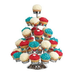Godinger Cupcake Holder Chrome - No longer a treat for kid parties only, cupcakes are ideal for any event, so showcase your sugary gems perfectly in the Godinger Cupcake Holder Chrome. Made of easy-to-care-for and stylish chrome-plated metal, this five-tiered stand perfectly displays 35 cupcakes.About GodingerBased in Ridgewood, N.Y., Godinger has been creating distinctive kitchenware, home decor, and gifts for over 40 years. Hand-crafted from crystal, pewter, and silver, Godinger's unique wedding gifts and home decor make any special occasion even more meaningful. From serving dishes and silverware, to barware and centerpieces, their wide tableware selection puts the art back into dining. Godinger is committed to providing excellent quality and style at affordable prices for every customer.