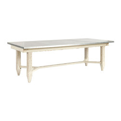 """Ballard Designs - Messina Dining Table - 92"""" - Hand distressed. Antique White finish. Simple assembly required. This grandly scaled edition of our Messina Dining Table was inspired by a well-loved Italian antique. The expansive, food-safe top is covered in zinc sheeting that's been acid-washed to give it the look of a generations-old family heirloom. Substantial base is crafted of solid hardwood with fluted legs and spade feet.Messina Dining Table features: . . ."""