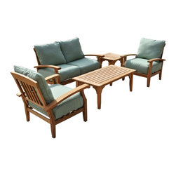 """Southern Enterprises Inc - Southern Enterprises Inc 5 Pcs Deep Seating Sofa Set X-1599RC - Enjoy the comfort - simple good looks - and durability of this plush patio set. Complete with a rectangular coffee table, square end table, two-seater sofa, and two sturdy chairs this set has all the seating you could need to enjoy the great outdoors. Since the wood is constructed of solid teakwood that is both water and weather resistant the set will remain structurally sound for many years to come. - Coffee table: 48"""" W x 25"""" D x 18.25"""" H - Side table: 22"""" W x 22"""" D x 18.25"""" H - Two-seater sofa: 54.25"""" W x 34"""" D x 35.5"""" H - Chairs: 30.75"""" W x 34"""" D x 35.5"""" H (each) - Seat: 10.75"""" H - Plush, green weather resistant cushions on each chair and sofa - Light brown wood - Supports up to: 300 lb. (each chair), 500 lb. (sofa) - Product weights: 50 lb. (armchair), 30 lb. (coffee table), 18 lb. (end table), 72 lb. (bench) - 100% Teakwood - Seat cushions made of polyurethane foam, polyester fiber, and sunbrella fabric - Assembly required - Ships via LTL from Carrollton, TX"""