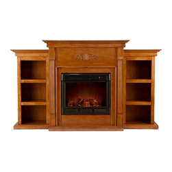 Holly & Martin - Holly & Martin Fredricksburg Electric Fireplace w/ Bookcases-Espresso, Glazed Pi - If you are looking for an elegant accessory for your home, this electric fireplace is perfect for you. This beautiful and functional electric fireplace features a glazed pine finish that looks great in any room. A classic floral design is carved across the top of this fireplace, above the firebox. Three bookcase shelves on either side of the firebox provide space and storage for all of your favorite readings, media and home decor accessories. Requiring no electrician or contractor for installation allows instant remodeling without the usual mess or expense. In addition to your living room or bedroom, try placing this fireplace in your home office. Use this great functional fireplace to make your home a more welcoming environment. Please note: Our photos are as accurate as possible, but color discrepancies may occur between the product and your monitor. The handcrafted touch of artisan skill also creates variations in color, size and design; slight differences should be expected.