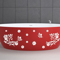 StickONmania - Bathtub Design Decal #6 - These decals come with two of each element mirrored, you choose how to place them.A vinyl decal sticker that lets you choose how to decorate. Decorate your home with original vinyl decals made to order in our shop located in the USA. We only use the best equipment and materials to guarantee the everlasting quality of each vinyl sticker. Our original wall art design stickers are easy to apply on most flat surfaces, including slightly textured walls, windows, mirrors, or any smooth surface. Some wall decals may come in multiple pieces due to the size of the design, different sizes of most of our vinyl stickers are available, please message us for a quote. Interior wall decor stickers come with a MATTE finish that is easier to remove from painted surfaces but Exterior stickers for cars,  bathrooms and refrigerators come with a stickier GLOSSY finish that can also be used for exterior purposes. We DO NOT recommend using glossy finish stickers on walls. All of our Vinyl wall decals are removable but not re-positionable, simply peel and stick, no glue or chemicals needed. Our decals always come with instructions and if you order from Houzz we will always add a small thank you gift.