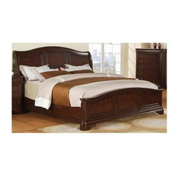 Sunset Trading - 67 in. Traditional Panel Bed (Queen) - Choose Size: QueenChest not included. Rich in tradition yet sophisticated in style. Timeless appeal style and stylish comfort. Warranty: One year. Made from solid wood and birch veneers. Rich cherry finish. Made in Vietnam. Assembly required. Queen: 94 in. L x 67 in. W x 56 in. H (162 lbs.). King: 94 in. L x 84 in. W x 56 in. H (209.5 lbs.)This beautifully designed furniture supplied by Sunset Trading will assure you many years of use and enjoyment. We all deserve a private retreat to renew ourselves from the endless demands and pace of everyday life. Leave the stress of the day behind once you step into the calm sanctuary of your own bedroom retreat with the Sunset Suites Cameron Collection from Sunset Trading. Invite a warm welcome blend of traditional elegance with a hint of European influences into your home. Take your bedroom to the next level of timeless appeal, stylish comfort and serenity for years to come!