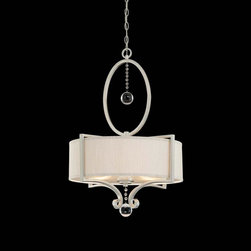 Joshua Marshal - Three Light Silver Fabric Shade Silver Sparkle Drum Shade Pendant - Three Light Silver Fabric Shade Silver Sparkle Drum Shade Pendant