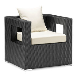 ZUO VIVA - Algarve Armchair Espresso - Created with strong lines and sharp edges the Algarve series bring the complete package for all your entertaining needs. The body is made up of a synthetic weave that is UV resistant so it will stand up to any weather. It is re-enforced with an aluminum frame, which will not rust. The cushions are water resistant. The coffee table also comes with a tempered glass. When all the pieces of the collection are in place it will have the impression that you need when entertaining or relaxing.