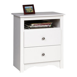 Prepac - Prepac Monterey White 23 Inch 2-Drawer Tall Nightstand with Open Cubbie - Not all furniture storage is created equal, and the Monterey tall 2 drawer nightstand with open shelf offers proof. Not stopping at two full-sized drawers, both primed for storing all your sundries, this bedside table also offers you an open shelf for those items you don't want totally hidden away. With its scalloped base panel and demure elegance, your bedroom will gain both storage space and a touch of elegant sophistication. Liven up your bedroom's decor by coordinating it with other members of the Monterey bedroom collection!