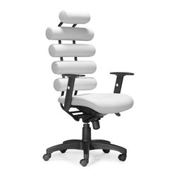 Zuo Modern - Zuo Unico Office Chair in White - Office Chair in White belongs to Unico Collection by Zuo Modern This high back office chair provides the ultimate in lumbar support. The Unico has firm leatherette cushion rolls for the back and a plush seat. The frame is comprised of a steel tube and the arms are height adjustable. The tilt mechanism is locking and height adjustable. Office Chair (1)