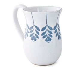 Amoretti Brothers - Amoretti Brothers Twigs Mug, Set of 4 - Add a cup of simple, artisanal elegance to your breakfast table or next coffee klatch. This set of four white ceramic mugs are hand-painted with sweet blue leaves around the top —and are dishwasher-, microwave- and oven-safe. They are so pretty, they may even make instant coffee taste better.