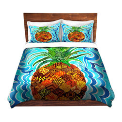 DiaNoche Designs - Duvet Cover Microfiber - Psychedelic Pineapple - DiaNoche Designs works with artists from around the world to bring unique, artistic products to decorate all aspects of your home.  Super lightweight and extremely soft Premium Microfiber Duvet Cover (only) in sizes Twin, Queen, King.  Shams NOT included.  This duvet is designed to wash upon arrival for maximum softness.   Each duvet starts by looming the fabric and cutting to the size ordered.  The Image is printed and your Duvet Cover is meticulously sewn together with ties in each corner and a hidden zip closure.  All in the USA!!  Poly microfiber top and underside.  Dye Sublimation printing permanently adheres the ink to the material for long life and durability.  Machine Washable cold with light detergent and dry on low.  Product may vary slightly from image.  Shams not included.