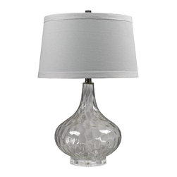 Dimond - Dimond Transitional Table Lamp X-741VTGH - The slender neck and large bulbous body are given contemporary appeal with textured detailing on the glass body of this HGTV table lamp. The glass body features subtle smoke coloring and comes paired with crisp white diffuser, which compliments the trendy look of this transitional table lamp.