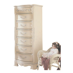 Lea Industries - Lea Jessica McClintock 7 Drawer Semainier in Antique White - It won't take your teen  long to fill this tall semainier — but, at least, her stuff won't be strewn across her room anymore. She'll love the curves, the carvings, the overall romantic look; you'll love the clutter-free zone.