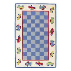 """Kas - Kids Kidding Around 7'6""""x9'6"""" Rectangle Blue Area Rug - The Kidding Around area rug Collection offers an affordable assortment of Kids stylings. Kidding Around features a blend of natural Blue color. Hand Tufted of 100% Multi-Textured Wool the Kidding Around Collection is an intriguing compliment to any decor."""