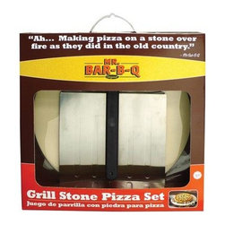 "Mr Bar B Q - 3Piece Pizza Stone Kit - Mr. Bar-B-Q Grill Pizza Set.  The taste of a brick oven pizza now cooked at home.  15"" Grill Stone Pizza Kit With swivel handle pizza peel & pizza cutter.  Great for flat breads  quesadillas  soft tacos and of course pizza!  Swivel handle allows for storage of the spatula in most drawers or cabinets.  This item cannot be shipped to APO/FPO addresses. Please accept our apologies."