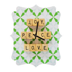 DENY Designs - DENY Designs Happee Monkee Joy Peace Love Quatrefoil Clock - Tick tock, tick tock. When time feels like it's standing still, check out DENY's Quatrefoil Clock. Paired with the art of your choice, this Quatrefoil Clock is just what you need to make the day go by just a little bit faster.