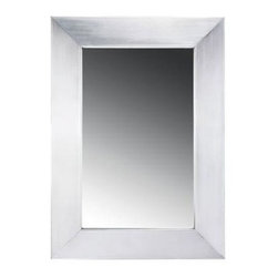 Whitehaus - Noah's Vanity Framed Mirror - Wall hung. 18 gauge steel. Commercial grade. 18/8 chrome and nickel content. Brushed stainless steel color. 15.75 in. W x 22 in. H (9 lbs.). Warranty
