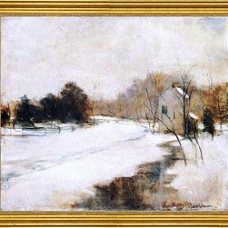 "John Twachtman-16""x20"" Framed Canvas - 16"" x 20"" John Twachtman Winter in Cincinnati framed premium canvas print reproduced to meet museum quality standards. Our museum quality canvas prints are produced using high-precision print technology for a more accurate reproduction printed on high quality canvas with fade-resistant, archival inks. Our progressive business model allows us to offer works of art to you at the best wholesale pricing, significantly less than art gallery prices, affordable to all. This artwork is hand stretched onto wooden stretcher bars, then mounted into our 3"" wide gold finish frame with black panel by one of our expert framers. Our framed canvas print comes with hardware, ready to hang on your wall.  We present a comprehensive collection of exceptional canvas art reproductions by John Twachtman."