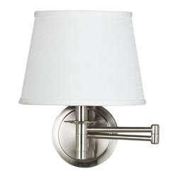 "Lamps Plus - Traditional Kenroy Sheppard Brushed Steel Plug-In Swing Arm Wall Lamp - Handsome classic style is yours with this plug-in swing arm wall light. Easy to install the light mounts on the wall and plugs into any standard outlet. The adjustable swing arm allows you to position the light as you like for reading or other tasks. It comes in a sleek brushed steel finish and is topped by a white fabric tapered drum shade. On/off switch at bottom of lamp stem. From the Kenroy swing arm light collection. Brushed steel finish. White fabric shade. Plug-in style wall light. Easy to install. On/off switch at bottom of lamp stem. Takes one 100 watt bulb (not included). 20"" wide. Extends 18"" from the wall. Arm extends 14"".  Brushed steel finish.  White fabric shade.  Plug-in style wall light.  On/off switch at bottom of lamp stem.  Takes one 100 watt bulb (not included).   14"" high.  Extends 18"" from the wall.  Backplate is 5 1/2"" wide.  Shade size is 7 ½"" top 10"" bottom 7 ½"" slant.   Cord cover included."