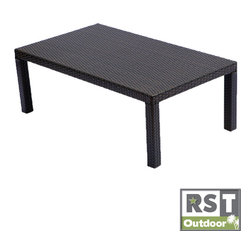 Red Star Traders - RST Outdoor Espresso Rattan Patio Coffee Table - Enhance your outdoor furnishings with this stylish espresso-finish patio coffee table. Made of sturdy water-resistant wicker and featuring built-in UV protection, this piece has been carefully constructed to ensure its durability over time.