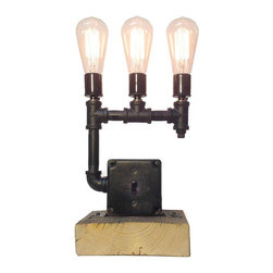 Industrial Lightworks - Industrial Black Pipe Lamp - Industrial Table Lamp - Triple Edison Bulb Pipe Lamp - Industrial Style