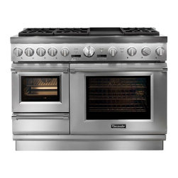 """Thermador Steam Range - From Thermador:  This is the """"Ultimate Culinary Center"""".  A 48"""" Dual-Fuel Range with a built-in warming drawer, steam oven, and convection oven.  Complete with 6 Thermador Star Burners and an Electric Griddle that can be swapped out for a grill insert."""