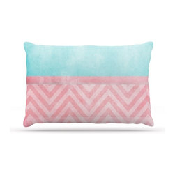 """Kess InHouse - Ingrid Beddoes """"Light Chevron Pink & Turquoise"""" Blush Aqua Fleece Dog Bed (50"""" x - Pets deserve to be as comfortable as their humans! These dog beds not only give your pet the utmost comfort with their fleece cozy top but they match your house and decor! Kess Inhouse gives your pet some style by adding vivaciously artistic work onto their favorite place to lay, their bed! What's the best part? These are totally machine washable, just unzip the cover and throw it in the washing machine!"""