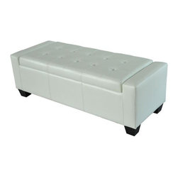 Homcom Faux Leather Storage Ottoman / Shoe Bench - White - This sleek storage ottoman that offers the elegant look of leather with multipurpose convenience. It can be used in a living room, guest room, bedroom, gaming room, or family room. With multiple functions such as acting as a sofa, a table, a couch, or a storage container, this ottoman will provide all the uses you may need. This stylish and chic rectangle storage ottoman is the perfect fit for any living room, bedroom or family room!