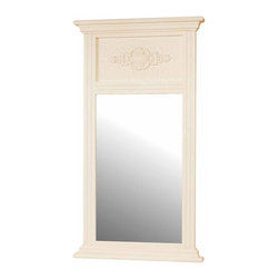 """Renovators Supply - Mirrors White Crackle Wood Hall/Entry Mirror   162117 - Mirrors: A pearl-white crackle finish wall mirror to match our other crackle bath accents- or to stand out on its own. Detailed embossed molding- measures 43"""" high x 23-1/2"""" wide x 2-1/2"""" deep."""